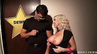 Christie Stevens breaks through security and sucks her idol's dick at the backstage