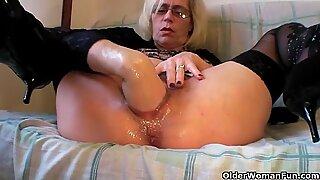 pervy grandma fists her furry snatch