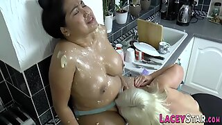 Mature old lady tongued by busty asian