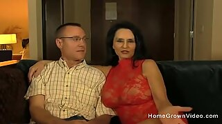 Hot amateur granny sucking and fucking a younger man