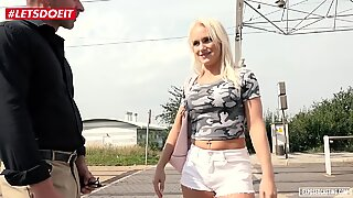 Horny Blonde gets her First Porn Audition Outdoors