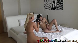girlfriends super hot brown-haired lets blonde film her masterbating