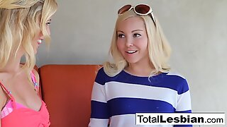 Amazing blonde babes Aaliyah and Cherie in a great lesbian scene