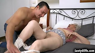 Hot male helper Rob helps her granny neighbor Norma B with her chores tand offers him to help her satisfies her sexual desires by fucking her cunt.