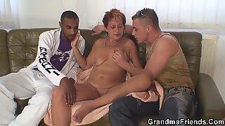 Interracial granny double penetration