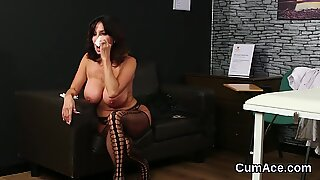 Naughty idol gets cum load on her face swallowing all the charge