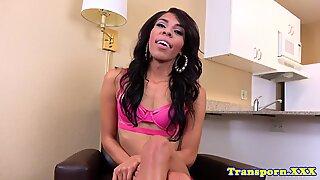 Ebony tgirl shows off her tight asshole