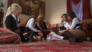 College Lesbie fest com Marie Mccray, Kelly Surfer, Jayden Lee, Leilani Leeane e Vanessa Veracruz
