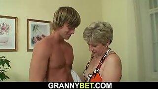 shaved granny sucks and fucks his huge cock